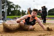 5 September 2020; Darragh Miniter of Nenagh Olympic AC, Tipperary, competing in the Junior Men's Long Jump event during the Irish Life Health National Junior Track and Field Championships at Morton Stadium in Santry, Dublin. Photo by Sam Barnes/Sportsfile