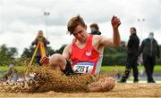 5 September 2020; Joshua Knox of City of Lisburn AC, Down, competing in the Junior Men's Long Jump event during the Irish Life Health National Junior Track and Field Championships at Morton Stadium in Santry, Dublin. Photo by Sam Barnes/Sportsfile
