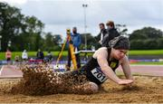 5 September 2020; Luke Hennessy of Naas AC, Kildare, competing in the Junior Men's Long Jump event during the Irish Life Health National Junior Track and Field Championships at Morton Stadium in Santry, Dublin. Photo by Sam Barnes/Sportsfile