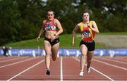 5 September 2020; Jenna Breen of City of Lisburn AC, Down, left, on her way to winning the Junior Women's 100m event, ahead of Jennifer Hanrahan of Tallaght AC, Dublin, who finished third, during the Irish Life Health National Junior Track and Field Championships at Morton Stadium in Santry, Dublin. Photo by Sam Barnes/Sportsfile