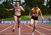 5 September 2020; Jenna Breen of City of Lisburn AC, Down, left, crosses the line to win the Junior Women's 100m event, ahead of Jennifer Hanrahan of Tallaght AC, Dublin, who finished third, during the Irish Life Health National Junior Track and Field Championships at Morton Stadium in Santry, Dublin. Photo by Sam Barnes/Sportsfile