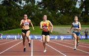 5 September 2020; Jenna Breen of City of Lisburn AC, Down, left, on her way to winning the Junior Women's 100m event, ahead of Alannah Mc Guinness of Carrick-on-Shannon AC, Leitrim, right, who finished second, and Jennifer Hanrahan of Tallaght AC, Dublin, centre, who finished third, during the Irish Life Health National Junior Track and Field Championships at Morton Stadium in Santry, Dublin. Photo by Sam Barnes/Sportsfile