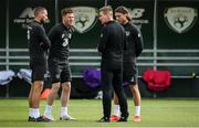 5 September 2020; Republic of Ireland manager Stephen Kenny in conversation with players, form left, Conor Hourihane, James McCarthy and Jeff Hendrick during a Republic of Ireland training session at the FAI National Training Centre in Abbotstown, Dublin. Photo by Stephen McCarthy/Sportsfile