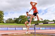 5 September 2020; James Hyland of Raheny Shamrock AC, Dublin, left, and Mark Hanrahan of Ennis Track AC, Clare, competing in the Junior Men's 3000m Steeplechase event during the Irish Life Health National Junior Track and Field Championships at Morton Stadium in Santry, Dublin. Photo by Sam Barnes/Sportsfile