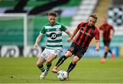 5 September 2020; Keith Ward of Bohemians in action against Jack Byrne of Shamrock Rovers during the SSE Airtricity League Premier Division match between Shamrock Rovers and Bohemians at Tallaght Stadium in Dublin. Photo by Seb Daly/Sportsfile