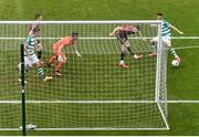 5 September 2020; Danny Lafferty of Shamrock Rovers deflects an attempted clearance by Andy Lyons of Bohemians which results in a goal for his side during the SSE Airtricity League Premier Division match between Shamrock Rovers and Bohemians at Tallaght Stadium in Dublin. Photo by Eóin Noonan/Sportsfile