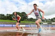 5 September 2020; Kirsten Monaghan of St Coca's AC, Kildare, right, and Ciara Dolan of Menapians AC, Wexford, competing in the Junior Women's 3000m Steeplechase event during the Irish Life Health National Junior Track and Field Championships at Morton Stadium in Santry, Dublin. Photo by Sam Barnes/Sportsfile