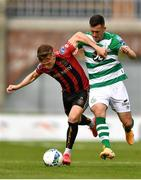 5 September 2020; Andy Lyons of Bohemians is tackled by Aaron Greene of Shamrock Rovers during the SSE Airtricity League Premier Division match between Shamrock Rovers and Bohemians at Tallaght Stadium in Dublin. Photo by Eóin Noonan/Sportsfile