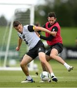 5 September 2020; Seamus Coleman and Alan Browne, right, during a Republic of Ireland training session at FAI National Training Centre in Abbotstown, Dublin. Photo by Stephen McCarthy/Sportsfile