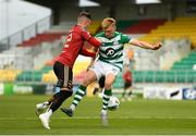 5 September 2020; Danny Grant of Bohemians is tackled by Liam Scales of Shamrock Rovers inside the penalty box during the SSE Airtricity League Premier Division match between Shamrock Rovers and Bohemians at Tallaght Stadium in Dublin. Photo by Eóin Noonan/Sportsfile