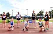 5 September 2020; Junior Women's 3k Walk competitors, from left, Sarah Glennon of Mullingar Harriers AC, Westmeath, Méabh O Connor of Waterford AC, Eva Delahunt of Sligo AC, Ruth Monaghan of Sligo AC, Emily MacHugh of Naas AC, Kildare, Sarah Constant of Carraig-Na-Bhfear AC, Cork, and Maria Flynn of Naas AC, Kildare, pose for a photo during the Irish Life Health National Junior Track and Field Championships at Morton Stadium in Santry, Dublin. Photo by Sam Barnes/Sportsfile