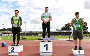 5 September 2020; Junior Men's hammer medallists, from left, Robert Higgins of Na Fianna AC, Meath, silver, Sean Maher of Raheny Shamrock AC, Dublin, gold, and Azuolas Varnili of Templemore AC, Tipperary, during the Irish Life Health National Junior Track and Field Championships at Morton Stadium in Santry, Dublin. Photo by Sam Barnes/Sportsfile