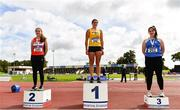 5 September 2020; Junior Women's Hammer medallists, from left, Adrienne Gallen of Lifford Strabane AC, Donegal, silver, Nicola Tuthill of Bandon AC, Cork, gold, and Ciara Mchugh Murphy of Claremorris AC, Mayo, bronze, during the Irish Life Health National Junior Track and Field Championships at Morton Stadium in Santry, Dublin. Photo by Sam Barnes/Sportsfile