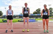 5 September 2020; Women's 3K walk medallists, from left, Ruth Monaghan of Sligo AC, Emily MacHugh of Naas AC, Kildare, gold, and Maria Flynn of Naas AC, Kildare, silver, during the Irish Life Health National Junior Track and Field Championships at Morton Stadium in Santry, Dublin. Photo by Sam Barnes/Sportsfile