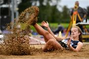 5 September 2020; Kate Hosey of Corran AC, Sligo, competing in the Junior Women's Long Jump event during the Irish Life Health National Junior Track and Field Championships at Morton Stadium in Santry, Dublin. Photo by Sam Barnes/Sportsfile