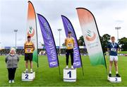 5 September 2020; Athletics Ireland President Georgina Drumm, left, alongside Junior Men's Javelin Medallists, from left, Cathal Scanlon of Leevale AC, Cork, silver, Conor Cusack of Lake District Athletics, Mayo, gold, and Peter Mcdonald of St Senans AC, Kilkenny, bronze, during the Irish Life Health National Junior Track and Field Championships at Morton Stadium in Santry, Dublin. Photo by Sam Barnes/Sportsfile