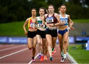 5 September 2020; Aimee Hayde of Newport AC, Tipperary, centre, leads the field on her way to winning the Junior Women's 1500m event during the Irish Life Health National Junior Track and Field Championships at Morton Stadium in Santry, Dublin. Photo by Sam Barnes/Sportsfile