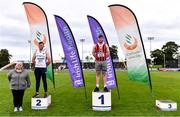 5 September 2020; Athletics Ireland President Georgina Drumm, left, alongside U23 Men's Weight for Distance medallists, from left, Patrick Darcy of Brow Rangers AC, Kilkenny, silver, and Sean Mockler of Moycarkey Coolcroo AC, Tipperary, gold, during the Irish Life Health National Junior Track and Field Championships at Morton Stadium in Santry, Dublin. Photo by Sam Barnes/Sportsfile