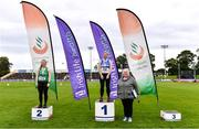 5 September 2020; Athletics Ireland President Georgina Drumm, right, alongside Junior Women's Weight for Distance medallists, from left, Siobhan Hennessy of Templemore AC, Tipperary, silver, and Kiana Nolan of St Laurence O'Toole AC, Carlow, gold,  during the Irish Life Health National Junior Track and Field Championships at Morton Stadium in Santry, Dublin. Photo by Sam Barnes/Sportsfile