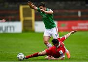 5 September 2020; Ryan Brennan of Shelbourne in action against Gearóid Morrissey of Cork City during the SSE Airtricity League Premier Division match between Shelbourne and Cork City at Tolka Park in Dublin. Photo by Harry Murphy/Sportsfile