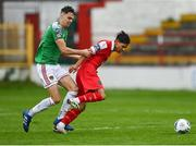 5 September 2020; Denzil Fernandes of Shelbourne in action against Cian Coleman of Cork City during the SSE Airtricity League Premier Division match between Shelbourne and Cork City at Tolka Park in Dublin. Photo by Harry Murphy/Sportsfile