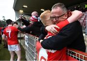 5 September 2020; Simon Garrity of Trillick St. Macartan's is congratulated by his dad William folllowing the Tyrone County Senior Football Championship Semi-Final match between Trillick St. Macartan's and Na Fianna Coalisland at Healy Park in Omagh, Tyrone. Photo by David Fitzgerald/Sportsfile