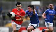 5 September 2020; Lee Brennan of Trillick St. Macartan's in action against Louis O'Neill of Na Fianna Coalisland the Tyrone County Senior Football Championship Semi-Final match between Trillick St. Macartan's and Na Fianna Coalisland at Healy Park in Omagh, Tyrone. Photo by David Fitzgerald/Sportsfile