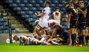 5 September 2020; Ulster players celebrate after John Andrew scored their side's third try during the Guinness PRO14 Semi-Final match between Edinburgh and Ulster at BT Murrayfield Stadium in Edinburgh, Scotland. Photo by Bill Murray/Sportsfile