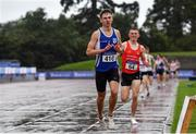 5 September 2020; Sean Donoghue of Celtic DCH AC, Dublin, celebrates as he crosses the line to win the Junior Men's 1500m event during the Irish Life Health National Junior Track and Field Championships at Morton Stadium in Santry, Dublin. Photo by Sam Barnes/Sportsfile