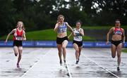 5 September 2020; Molly Hourihan of Dundrum South Dublin AC, centre, on her way to winning the Junior Women's 200m event, ahead of Elizabeth Gahan of Enniscorthy AC, Wexford, left, who finished third, and Jenna Breen of City of Lisburn AC, Down, far right, who finished second, during the Irish Life Health National Junior Track and Field Championships at Morton Stadium in Santry, Dublin. Photo by Sam Barnes/Sportsfile
