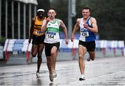 5 September 2020; Michael Farrelly of Raheny Shamrock AC, Dublin, centre, on his way to finishing second in the Junior Men's 200m event, ahead of Aaron Keane of Tullamore Harriers AC, Offaly, right, who finished third, during the Irish Life Health National Junior Track and Field Championships at Morton Stadium in Santry, Dublin. Photo by Sam Barnes/Sportsfile