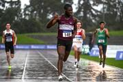 5 September 2020; Charles Okafor of Mullingar Harriers AC, Westmeath, celebrates as he crosses the line to win the Junior Men's 200m event during the Irish Life Health National Junior Track and Field Championships at Morton Stadium in Santry, Dublin. Photo by Sam Barnes/Sportsfile