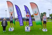 5 September 2020; Athletics Ireland President Georgina Drumm, left, alongside Junior Men's 400m medallists, from left, Cian Dunne of Dundrum South Dublin AC, silver, Robert McDonnell of Galway City Harriers AC, gold, and Hugo Magee of Crusaders AC, Dublin, bronze, during the Irish Life Health National Junior Track and Field Championships at Morton Stadium in Santry, Dublin. Photo by Sam Barnes/Sportsfile