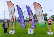 5 September 2020; Athletics Ireland President Georgina Drumm, left, alongside Junior Women's 200m medallists, from left, Jenna Breen of City of Lisburn AC, Down, silver, Molly Hourihan of Dundrum South Dublin AC, gold, and Elizabeth Gahan of Enniscorthy AC, Wexford, bronze, during the Irish Life Health National Junior Track and Field Championships at Morton Stadium in Santry, Dublin. Photo by Sam Barnes/Sportsfile