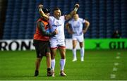 5 September 2020; Ian Madigan of Ulster celebrates with Ulster skills coach Dan Soper after kicking the game winning penalty during the Guinness PRO14 Semi-Final match between Edinburgh and Ulster at BT Murrayfield Stadium in Edinburgh, Scotland. Photo by Bill Murray/Sportsfile