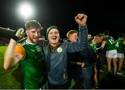 5 September 2020; Colm Corrigan of Dungannon celebrates with a supporter following the Tyrone County Senior Football Championship Semi-Final match between Dungannon Thomas Clarke GAA and Errigal Ciaran at Healy Park in Omagh, Tyrone. Photo by David Fitzgerald/Sportsfile
