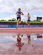 6 September 2020; Catriona Devine of Finn Valley AC, Donegal, left, and Jackie Carty of Kilmore AC, Wexford, competing in the F45 Women's 1500m event during the Irish Life Health National Masters Track and Field Championships at Morton Stadium in Santry, Dublin. Photo by Sam Barnes/Sportsfile