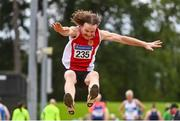 6 September 2020; Johnny Murphy of Ennis Track AC, Clare, competing in the M55 Men's Long Jump event during the Irish Life Health National Masters Track and Field Championships at Morton Stadium in Santry, Dublin. Photo by Sam Barnes/Sportsfile