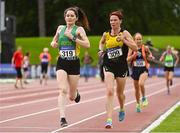 6 September 2020; Suzanne Neilan of An Ríocht AC, Kerry, left,  competing in the F45 Women's 3000m and Karen Costello of Dunleer AC, Louth, competing in the F40 Women's 3000m event during the Irish Life Health National Masters Track and Field Championships at Morton Stadium in Santry, Dublin. Photo by Sam Barnes/Sportsfile