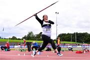 6 September 2020; Fiona Smith Keegan of Donore Harriers, Dublin, competing in the F45 Women's Javelin event during the Irish Life Health National Masters Track and Field Championships at Morton Stadium in Santry, Dublin. Photo by Sam Barnes/Sportsfile
