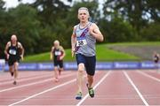 6 September 2020; Shane Sheridan of Dundrum South Dublin AC, competing in the  M60 Men's 200m event during the Irish Life Health National Masters Track and Field Championships at Morton Stadium in Santry, Dublin. Photo by Sam Barnes/Sportsfile