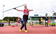 6 September 2020; Frank Stewart of City of Derry AC Spartans, Derry, competing in the M80 Men's Javelin event during the Irish Life Health National Masters Track and Field Championships at Morton Stadium in Santry, Dublin. Photo by Sam Barnes/Sportsfile