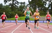 6 September 2020; Anthony Greaney of An Ríocht AC, Kerry, 48, and Garrett Flynn of Leevale AC, Cork, 49, competing in the M45 Men's 200m event during the Irish Life Health National Masters Track and Field Championships at Morton Stadium in Santry, Dublin. Photo by Sam Barnes/Sportsfile