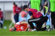 6 September 2020; David Treacy of Cuala receives treatment after picking up an injury during the Dublin County Senior Hurling Championship Semi-Final match between Lucan Sarsfields and Cuala at Parnell Park in Dublin. Photo by Piaras Ó Mídheach/Sportsfile
