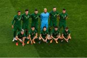 6 September 2020; The Republic of Ireland team, top row, from left, Adam Idah, John Egan, Matt Doherty, Darren Randolph, Shane Duffy and Enda Stevens. Bottom row, from left, Aaron Connolly, Callum O'Dowda, Harry Arter, Robbie Brady and Jayson Molumby line-up for the team photo ahead of the UEFA Nations League B match between Republic of Ireland and Finland at the Aviva Stadium in Dublin. Photo by Seb Daly/Sportsfile