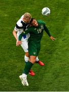 6 September 2020; Adam Idah of Republic of Ireland in action against Juhani Ojala of Finland during the UEFA Nations League B match between Republic of Ireland and Finland at the Aviva Stadium in Dublin. Photo by Seb Daly/Sportsfile