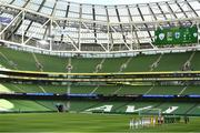 6 September 2020; Teams and officials line-up for the national anthems ahead of the UEFA Nations League B match between Republic of Ireland and Finland at the Aviva Stadium in Dublin.  Photo by Eóin Noonan/Sportsfile