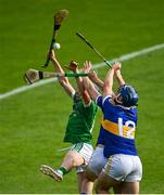 6 September 2020; Lorcan Campion of Drom & Inch in action against Bryan McLoughney, centre, and Billy Seymour of Kiladangan during the Tipperary County Senior Hurling Championship Semi-Final match between Kiladangan and Drom & Inch at Semple Stadium in Thurles, Tipperary. Photo by Ramsey Cardy/Sportsfile