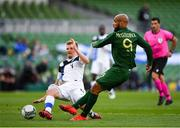 6 September 2020; David McGoldrick of Republic of Ireland sees his shot blocked by Juhani Ojala of Finland during the UEFA Nations League B match between Republic of Ireland and Finland at the Aviva Stadium in Dublin. Photo by Seb Daly/Sportsfile