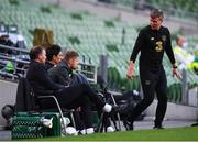 6 September 2020; Republic of Ireland manager Stephen Kenny, right, in conversation with, from left, goalkeeping coach Alan Kelly, coaches Damien Duff and Keith Andrews during the UEFA Nations League B match between Republic of Ireland and Finland at the Aviva Stadium in Dublin. Photo by Stephen McCarthy/Sportsfile